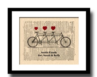 Tandem Bicycle For Three Art Print, Custom, Names and Date, Dictionary Page Art, Art For Nursery, Custom New Baby Gift, Custom Baby Gift