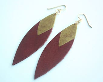Painted Leather Leaf Earrings - Red Wine Leather and Gold with 14K Gold-Fill