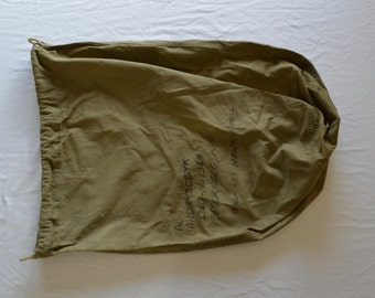 sale Vintage U.S. ARMY WW2 stenciled cotton twill laundry bag duffel barracks dated 1945 world war two