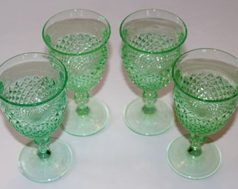 Vintage Green English Hobnail Footed Tumblers, Set of 4, 1940's or 1950's, Depression Glass