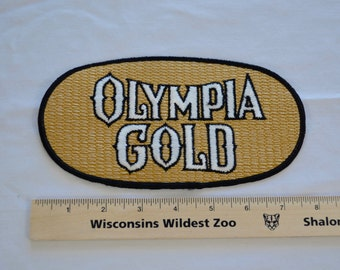 on sale Vintage OLYMPIA GOLD beer patch 1970's original iron on patch large size