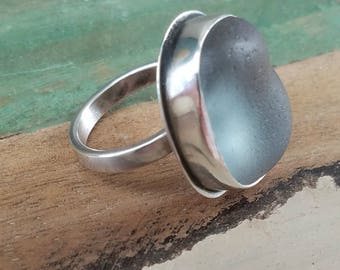 Natural Smokey Grey Sea Glass and Sterling Silver Ring. Sz 6.5  146r