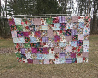 Ragged Edge Summer Quilt with Repurposed Crib Sheet Backing Clearance 40% off