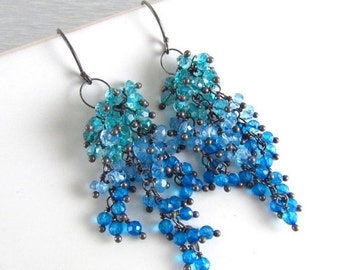 25OFF Apatite And Quartz Sterling Silver Cluster Earrings - Waterfall