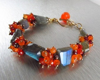 20 Off Chunky Labradorite Bracelet With Carnelian And Garnet