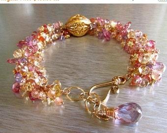 20 Off Summer Sale Chunky Gemstone Cluster and Gold Filled Adjustable Bracelet