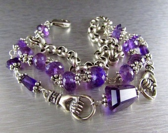 25% Off Three Strand Amethyst And Silver Bracelet