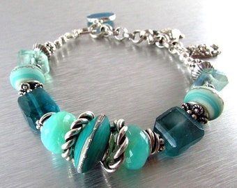 25 % OFF Gemstone and Lampwork Chunky Sterling Silver Bracelet - Day At The Beach