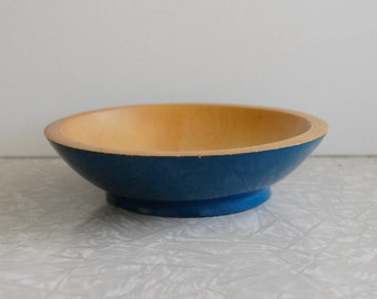 small blue munising wood bowl, vintage wood bowl, cabin cottage decor, rustic primitive folk art bowl, painted blue, footed butter bowl