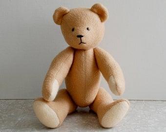 handmade teddy bear, hand made vintage teddy bear, jointed teddy bear, stuffed animal, heirloom baby gift, classic toy, vintage stuffy,