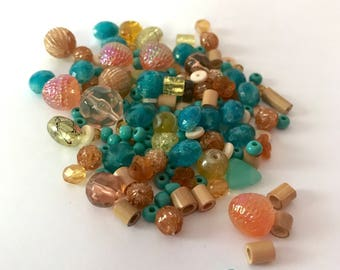Aztec Favs Fun Pack - Over 150 Beads - asst szs - Turquoise/Beiges/Peach - Baubles, Jewelry Findings, Crafts, Destash Vintage
