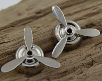 Metal Steampunk Airplane Propeller Component - Rotating- Lot of four (4) - 22mm, MB060