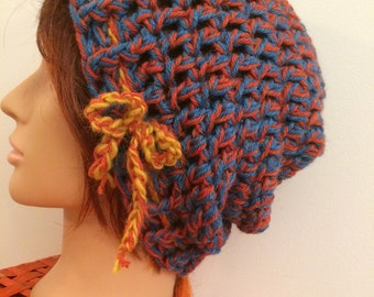 Blue and Rust Crocheted Slouch Hat 48/16