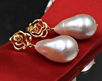 Nucleated Baroque Pearl Earrings Gold Vermeil Rose Post Wire Wrap Ivory Pearl Dangle Earring Ivory Luxury Nucleated Baroque Pearl Earring