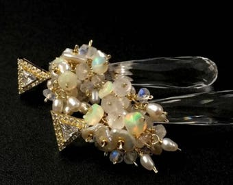 Pearl Opal Earrings Gold Fill Rainbow Moonstone Cluster Earrings Clear Quartz Long Dangle Post Earrings Wedding Jewelry