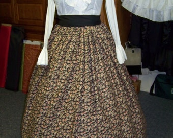 Civil War Long SKIRT one size fits all Black calico with Green,coral, and Ivory Scrolls cotton Handmade vintage style fabric