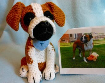 Crochet Boxer Dog, Custom Made to Look Like Owner's Dog, Canine, Stuffed Dog, Pet Memorial, Pet Remembrance, Look Alike, Dog Memorial