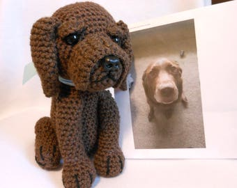 Crochet Chocolate Labrador, Custom Made to Look Like Owner's Dog, Look Alike, Canine, Stuffed Dog, Pet Remembrance, Pet Memorial, Lab