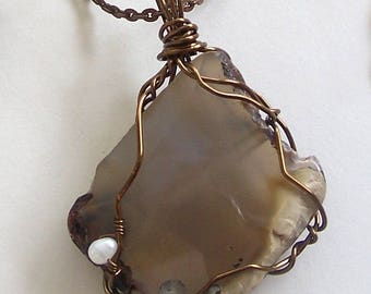 ON SALE Rough Cut Agate Pendant Wire Wrapped with Pearl Embellishment by Carol Wilson of Je t'adorn