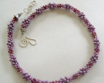 Amethyst Beaded Kumihimo Thick & Thin Rope Necklace by Carol Wilson of Je t'Adorn
