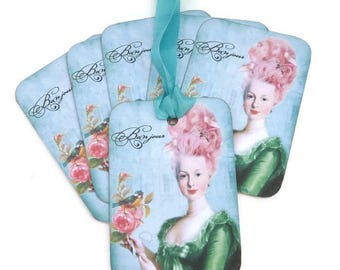 Marie Antoinette Tags, French Gift tags, Bridal Shower, Paris Hang Tag, High Tea Party Favor, Paris Green Ballgown, Bluebird, Vintage Tag