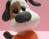 Valentine Day Puppy polymer clay figurine