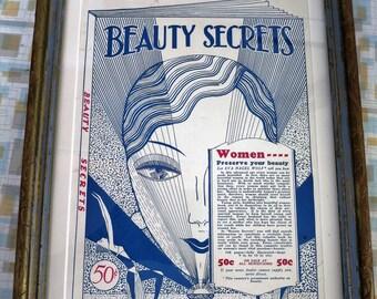 ART DECO Advertising 1920s Beauty Secrets Framed Ad Flapper Girl