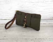 Green Waxed Canvas & Brown Leather Smartphone Wallet, Wristlet, Clutch, Organizer, iPhone 6 Plus Wallet