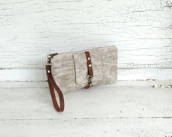 Brown Waxed Linen & Leather Smartphone Wallet, Wristlet, Clutch, Organizer, iPhone 7 Plus Wallet