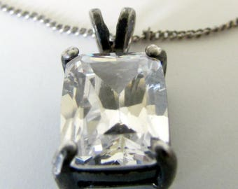 Vintage AVON Sterling Necklace Square Cut Sterling Silver 925