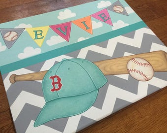 You pick team and sport-Personalized Name Wall Canvas Sports Boston Red Sox Baseball SoccerArt Girls Bedding Chevron Room Decor