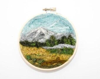 Needle Felted Landscape - Embroidery Hoop Fiber Art - Mountain Valley Scene