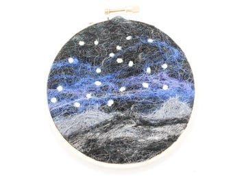 Needle Felted Landscape - Embroidery Hoop Fiber Art - Midnight Mountains with Starry Sky