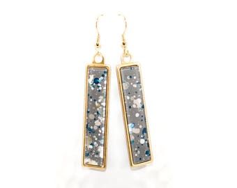 Splatter Painted Dangle Earrings - Acrylic in Long Brass Rectangle Setting - Storm Cloud Colorway: Gray, White, Navy