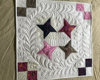 Friendship Star Wallhanging:  Quilted Home or Office art decor  White pink purple feather plume