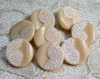 "8 Molded and Painted Lace Pattern on Tan Vintage Glass Button 1/2"" size"