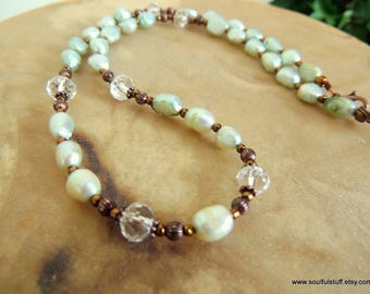 Freshwater Pearl Necklace, Pearl and Copper, Rustic Jewelry, Handcrafted Jewelry, Green and Copper, Green Pearls, Gift for Her, Boho Jewelry