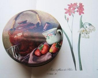 Vintage Biscuit tin * Round Tin Tea Box * Still Life Tin * Pretty storage * Gifts and Kitchen Decor * Storage Ideas * 6 inch Tin Cookie Tin
