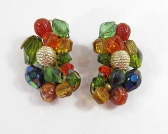 Bead Earrings Germany Multi Color Glass Plastic Beads Signed Clip Ons 9124
