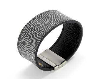Mens Leather Bracelet also, with contactless payment chip - Thinker