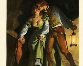 MATURE: 1956 Vintage Print showing a Scene from the Decameron. Illustrated by Gino Boccasile. By Lantern Light