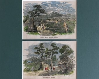 Antique Print of Edo Scenes, Japan - Already Matted and Framed - 1858 Vintage Print - Hand Colored - Gift for Her - Gift for Him