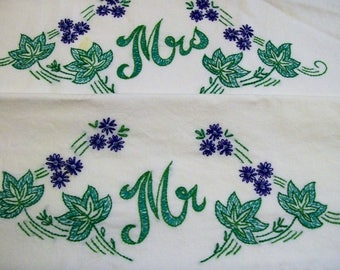 Vintage Pillowcase, Mr. Mrs.Vintage Pillowcase, Mr. Mrs. Pillowcases with embroidery, Green and Blue
