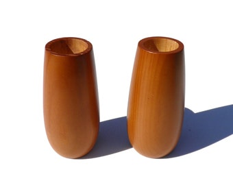 Scandinavian Primitive Wood Pillar Candle Holders, 1960's-1970's Vintage Danish Mid Century Modern, Hand Turned Wood Candle Holders Pair,