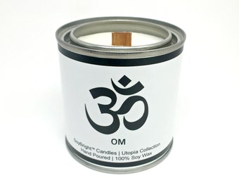 Om SoyBright™ Soy Wax Half Pint Paint Can Candle | OM Symbol | Frosted Birch and Juniper Scented | Wooden Wick | Eco Friendly No Phthalates