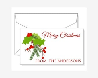 Personalized Gift Enclosure Cards with Mini-Envelopes - Holly