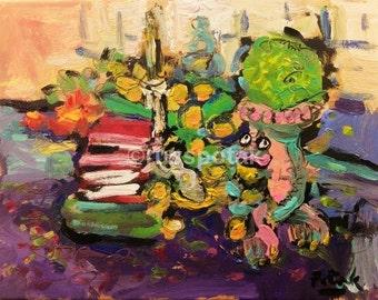 Still life painting,  impressionist art, room decor,  expressive, lavender, yellow, blue, interior scene, Russ Potak