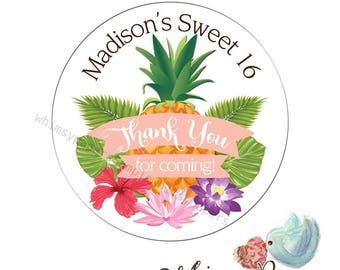 Personalized Thank You Stickers,  Hawaiian Party Stickers