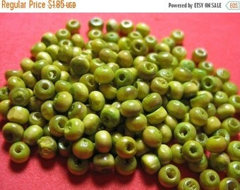 WINTER SALE Small Round Lime Green Wood Beads - 4mm - 200