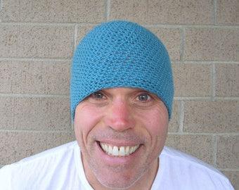men's summer beanie/ teal blue linen cotton blend crochet
